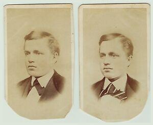 "SUPER CDV Photo Pair - Identical Twin Boys ""Green twins""  ID'd ca 1870s"