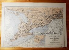 "Map of Telephone Lines in Ontario & Quebec, Atlas of Canada, 12x17"" to frame"
