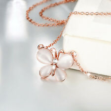 Lovely 18K Rose Gold Filled Fashion Clear Crystal Cat's Eye Butterfly Necklace