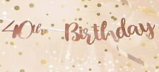 Elegant Rose Gold 40th Birthday Bunting Banner Garland Party Decoration - New