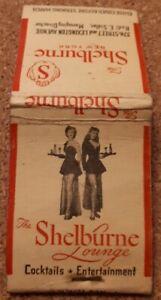 Vintage Matchbook Cover SHELBURNE HOTEL/LOUNGE BAR, NEW YORK, c1950s Ephemera