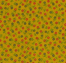 1/2 Yard - Cotton Blend Fabric -  Deep Yellow Calico