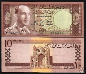 AFGHANISTAN 10 AFGHANIS P37 1961 KING ZAHIR MOSQUE UNC De La Rue MONEY BANK NOTE