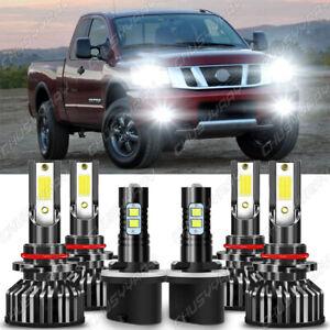 For Nissan Titan 2004-2015 6x Combo LED Headlights High/Low Beam+Fog Lamps Bulbs
