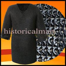Chainmail Shirt Flat Riveted with Washer Black Chain Mail Hauberk Halloween gift