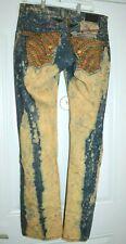 Men's Robin's Jeans  Blue Acid Wash Red Swarovski Crystals Pants 34W x 35 Long