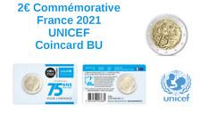 Prévente 2 Euros Commémorative France 2021 UNICEF Coincard BU