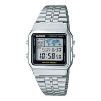 CASIO Vintage Series Retro World Time Silver Classic Watch A500WA-1DF