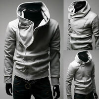 Fashion Men Slim Fit Hoodie Solid Long Sleeve Hip Hop Muscle T-shirt Casual Tops