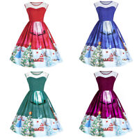 Xmas Dress Vintage Style Womens Party Rockabilly Cocktail Flared Swing Gothic