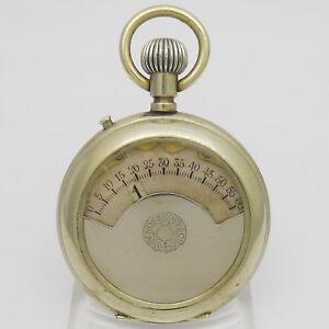 W. Rosskopf & Cie - extrem seltene Taschenuhr, vernickelt mit springender Stunde