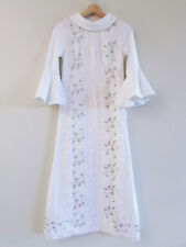 Vintage 60s Lace Beaded Sheath Wedding Dress Gown Circular Flounce Sleeves