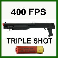Shell Fed Airsoft Triple Shot Shotgun Multi Burst 400 FPS Gun Pistol Grip Sawed