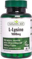 L-Lysine 1000mg 60 Tablets Vegan & Vegetarians - Natures Aid - FREE UK POST.