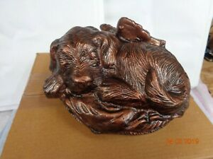 Aluminium sleeping dog cremation Urn to hold ashes of a beloved pet dog remains
