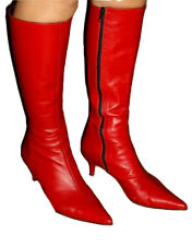 Red leather Office stiletto pointy boots 5.5uk 38eu