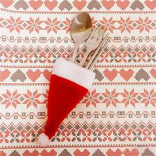 Chapeau d'Argenterie Titulaire Sac De Noël fête lot de 10 Rouge Mignon Couverts