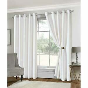 Isabella Rose Eclipse White Soft Touch Eyelet Ring Top Blackout Curtains Bedroom