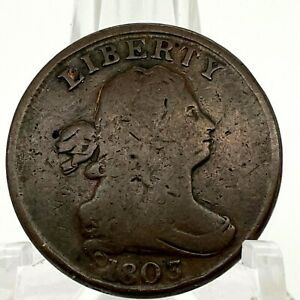 1803 Draped Bust Half Cent Rotated Die Close Fraction Open 3  Variety - Scares.1
