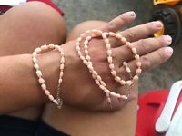 Vintage Angel Skin Coral Bead Necklace Branch Beads Barrel Clasp and Bracelet