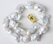 WOW!! big Natural 32mm Baroque white Reorn keshi pearls necklace Dragon E2185