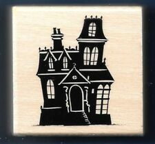 HAUNTED HOUSE CROOKED TOWER Landscape Halloween NEW Craft Smart RUBBER STAMP