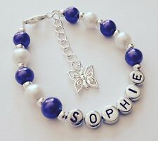 Girls personalised purple butterfly charm bracelet jewellery gift - any name!!