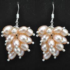 Natural Peach Pink Freshwater Pearl Cluster Sterling Silver Earrings Gift Boxed