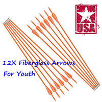 12 pieces Fiberglass Arrows Youth Archery Compound Recurve Bow Practise Shooting