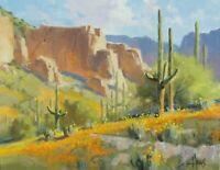 TOM HAAS (b.1952) 'Poppy Season' oil 11x14 Arizona spring wildflowers Southwest