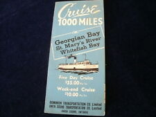 Vintage 1945 Owen Sound Dominion Transportation Cruise 1000 Miles Brochure R601