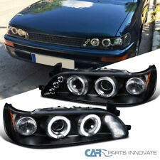 For 93-97 Toyota Corolla Black Halo Projector Headlights Headlamps Left+Right