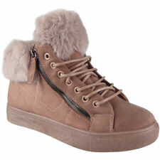 Womens Ankle Boots Faux Fur Lining Zip Sneakers Lace Up Flat Trainers Shoes Size