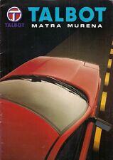 TALBOT MATRA MURENA 1981-82 marché Suisse la brochure commerciale en allemand 1.6 2.2