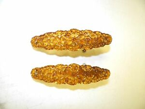 """VINTAGE VICTORIAN PAIR (2) OF GLASS CURTAIN OVAL TIE BACKS AMBER 6"""""""