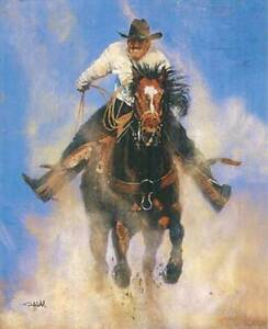 Wallpaper Mural Roping Western Cowboy and Horse