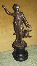 Figurine of Diana with her hound, painted metal, Diana mit Hund, Metall bemalt