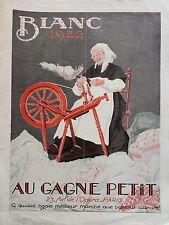 """CATALOGUE MODE """" AU GAGNE PETIT """" 1922  LE BLANC"""