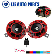 RED SUPER LOUD BLAST TONE GRILL MOUNT 12V ELECTRIC COMPACT CAR HORN 335HZ/400HZ