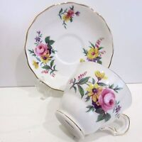 Royal Vale Bone China Teacup & Saucer England Pink & Yellow Spring Flowers Used