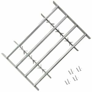 Horizontal Window Grille 4 Crossbar Extendable Security Grill Galvanised Steel