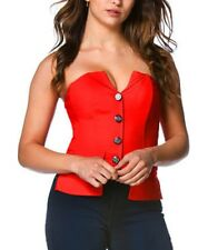 Red Corset Bustier Top Size 6 Ladies Womens Button Front And Zip Up Back