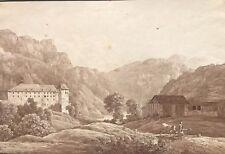 Schloss Rhäzüns, Graubünden, Tuschezeichnung, Romantik, um 1810