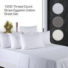 1200TC Egyptian Cotton White/Grey/Cream STRIPE Luxury Sheet Set