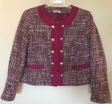 Jessica London Womens Pink Tweed Jacket Sz 18 Cropped Collarless