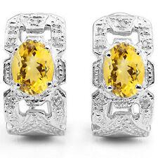 LOVELY 2.02 CTW GENUINE DIAMOND & CITRINE 925 STERLING SILVER EARRINGS