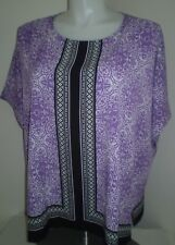 New Purple Black Geo Printed Casual Comfort Loose Fit Blouse Caftan Top 1X $44