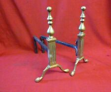 """Vintage Pair of 14"""" Brass Fire Dogs Andirons Fireplace"""