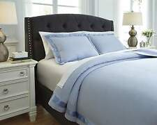 New Ashley Furniture Home Farday Soft Blue Satin Trim Queen Duvet Cover Set 3pc