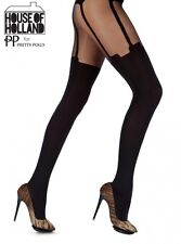 Pretty Polly House of Holland Super Suspender Tights One Size Black - HHAFE5